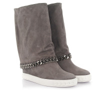 Wedge Boots Veloursleder Zierkette