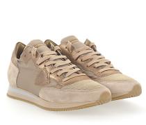 Sneaker TROPEZ Veloursleder Nylon beige Leder Mesh metallic gold