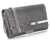 Clutch Lydia aus anthrazitfarbenem Glitzerstoff