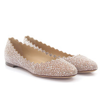 Ballerinas Lauren Leder beige silber finished