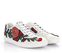 Sneakers Ace Leder -Webdetail Blumen-Stickerei Schlangenprägung