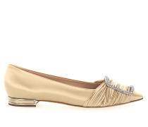 Ballerinas 1A088 Kristallverzierung Raffung gold