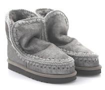 Stiefeletten Boots ESKIMO 18 Veloursleder grau Stricknaht grau Schafsfell