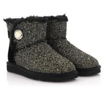 Stiefeletten Boots Mini Bailey Button Fancy Stoff gewebt weiß Veloursleder Swarovski Lammfell