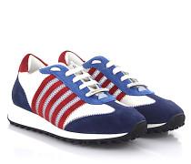 Sneaker NEW RUNNER HIKING Leder weiss Veloursleder blau rot