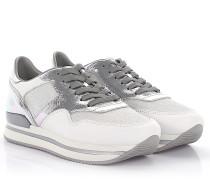 Sneaker H222 Plateau Leder silber metallic Stoff Glitzer