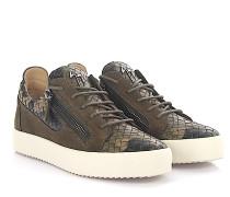 Sneaker Clay Low Veloursleder braun Leder camouflage geflochten