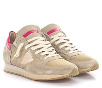 Sneaker Tropez Low Veloursleder Nylon beige Lackleder pink