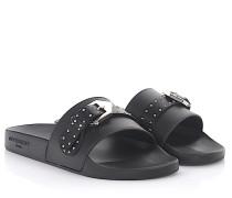 Sandalen Plate Slide Kautschuk Lederschnalle Nieten silber