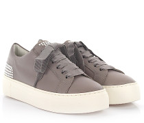 AGL Sneaker D92501 plateau leather grey pearls satin-laces