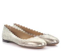 Ballerinas Lauren Leder silber metallic finished