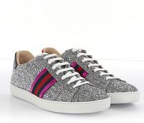 Sneaker low Leder Glitzer Web-Details