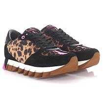 Sneaker Low Capri Veloursleder Lackleder schwarz Nylon Pvc Leo Print