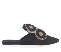 Slipper 112884 Blumen-Deko Stickerei