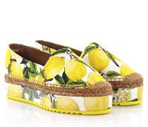 Dolce & Gabbana Dolce Gabbana Espadrilles Plateau Stoff weiß gelb Zitronen-Print Bast