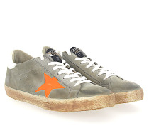 Sneaker SUPERSTAR Veloursleder grau Star-Patch Leder orange