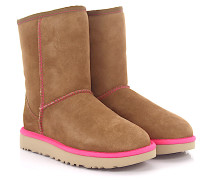 Stiefeletten Boots Classic Short 2 Neon Veloursleder braun Lammfell