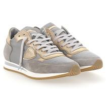 Sneaker TROPEZ Leder metallic gold Veloursleder grau Nylon