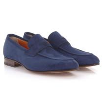 Santoni Slipper Penny Loafer E14841 Veloursleder blau