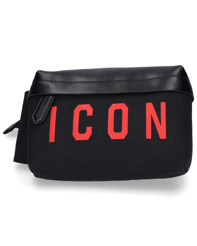 Belt Bag BUM BAG Kalbsleder Canvas logo schwarz