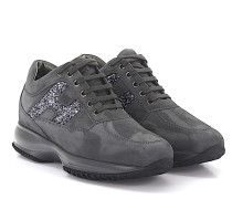 Sneakers Interactiv Veloursleder Glitzerlogo silber