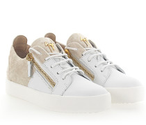 Sneaker MAY Leder weiss Samt