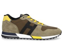 Sneaker low H383 Veloursleder Materialmix Logo gelb