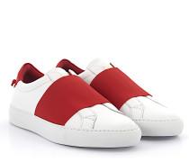 Slip-On Sneaker URBAN STREET look elastic rot Leder weiss