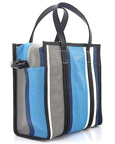 Schultertasche Shopper Bazar S Leder blau grau