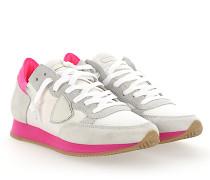 Sneaker TROPEZ Veloursleder Nylon Mesh weiss Leder neon pink