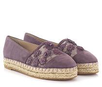 Espadrilles 92807 Veloursleder violett Leder Blumenverzierung Bast