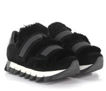 Sneaker Leder Pelz Details