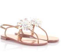 Zehentrenner Flip Flops Letizia Lackleder rosé Kristall-Blume
