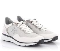 Sneaker H254 Leder silber Stoff Glitzer