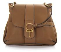 Handtasche LEXA Leder braun Schlüssel Detail