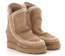 Keilstiefeletten Boots Eskimo Wedge Short Veloursleder Stricknaht