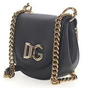 Schultertasche Handtasche Leder geprägt Logo gold