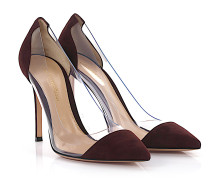 Pumps Plexi Veloursleder bordeaux PVC