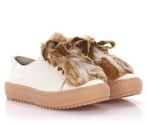 AGL Sneakers D930006 Leder weiß Kaninchenfell Samtschnürsenkel Lammfell