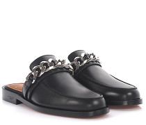 Sandalen Loafer Chain Plate Leder Kettenverzierung