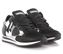 Keilsneakers Tropez Leder Textil schwarz silber
