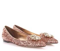 Ballerinas Bellucci Stoff rosé Pailletten Schmucksteinverzierung