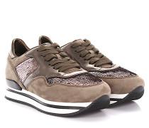 Sneakers H222 Plateau Veloursleder taupe Leder bronze metallic Pailletten
