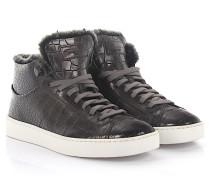 Sneakers 54977 Mid Cut Leder taupe Krokodilprägung Lammfell