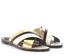 Sandalen SAHS Leder Lackleder schwarz gold