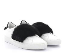 Sneaker BE09192 Leder Weiss Nerzfell schwarz