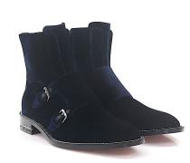 Stiefeletten Boots MONK Samt dunkel Kettenverzierung