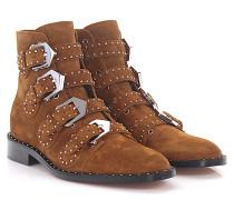 Stiefeletten Boots BE08142 Veloursleder braun Nieten silber