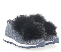 Sneaker NORWAY Stoff blau silber Sternenprint Pompons Fuchsfell schwarz