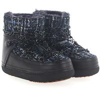 Boots LADY BLUE Leder Schwarz Stoff multicolor Zierkette Fell